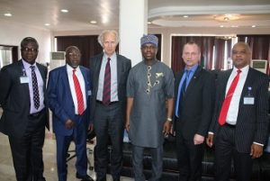 From Left: The Executive Director Operations of the Nigerian Maritime Administration and Safety Agency (NIMASA), Engr. Rotimi Fashakin, Executive Director Maritime Labour and Cabotage Services, NIMASA, Mr. Gambo Ahmed, Norwegian Ambassador to Nigeria Mr. Jens-Peter Kjemprud, the Director General, NIMASA, Dr. Dakuku Peterside, Norwegian Deputy Minister of Trade, Industry and Fisheries, Mr. Ronny Berg and The Executive Director, Finance and Administration, NIMASA, Mr. Bashir Jamoh when the Norwegian delegation paid a courtesy visit to the NIMASA Headquarters in Lagos.
