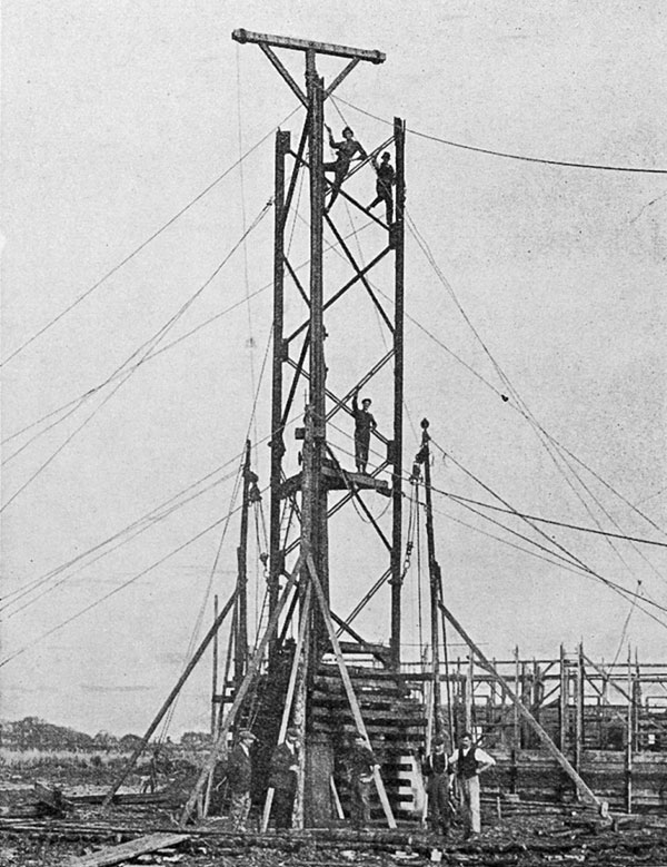 The new wireless station in the Far North: the tower under construction at Kaitaia