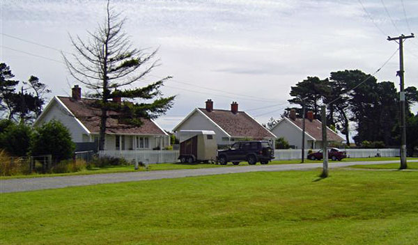 Original three staff houses at Awarua Radio ZLB, built by Telefunken in 1913