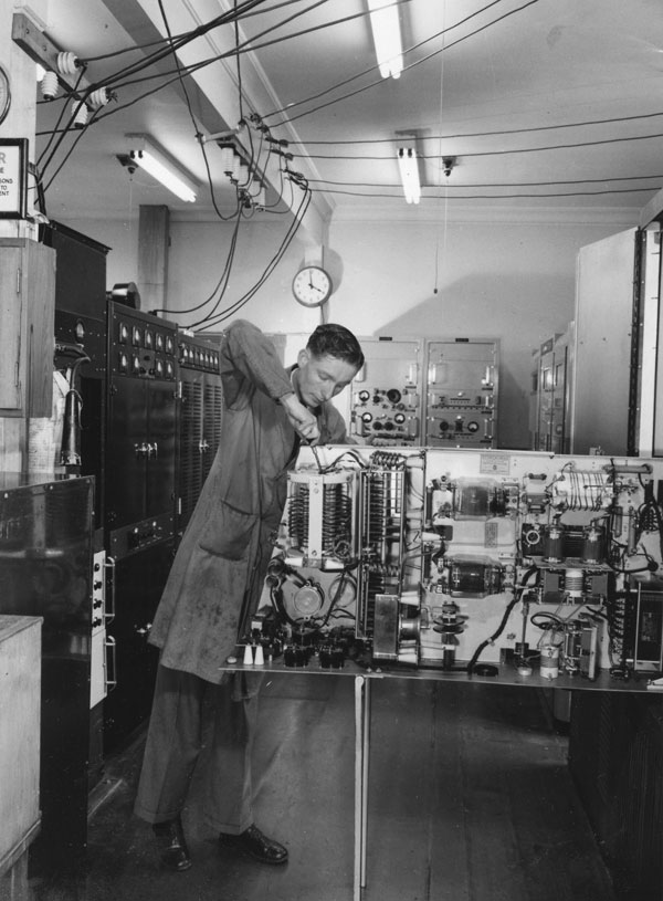 Jack Colman working on a 5KW RCA transmitter at Wellington Radio ZLW in the early 1950s