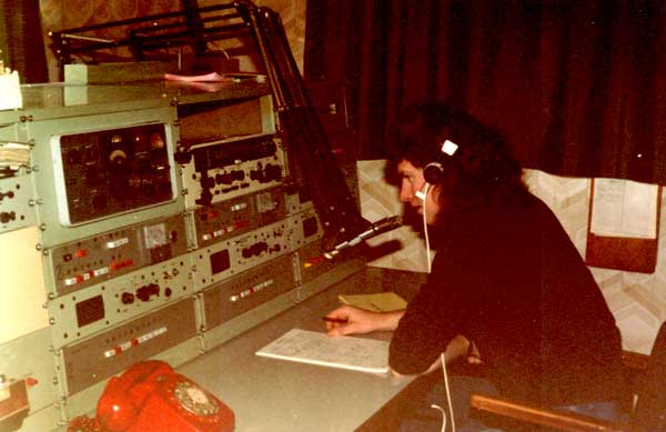 Mike Evertzen on small ships radiotelephone at Awarua Radio ZLB in the mid 1980s