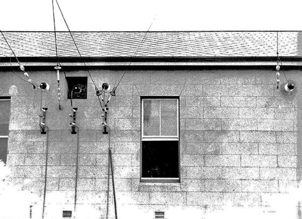 Aerial feedlines leaving the transmitter building at Awanui Radio or Awarua Radio