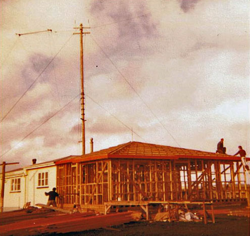Construction at Chatham Islands Radio. Date and circumstances unknown.