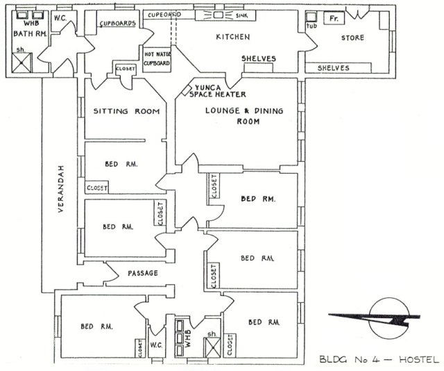Plan of staff hostel at Awarua Radio ZLB
