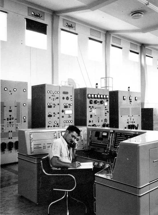 Laurie Edgerton at the main control console of Himatangi Radio