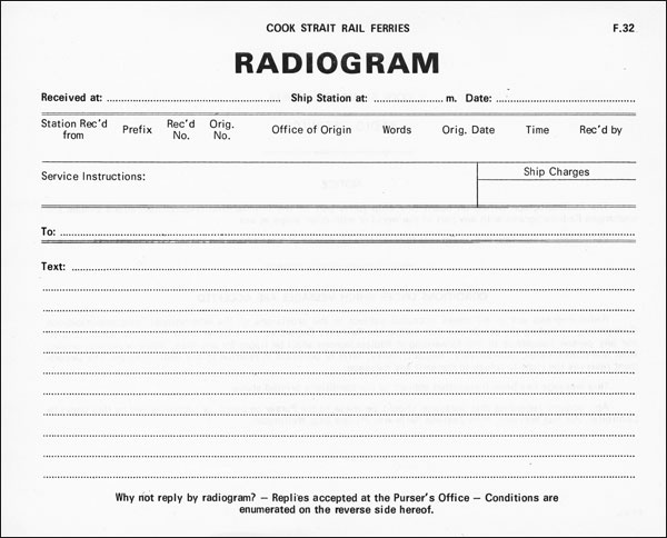 Radiogram form for messages received aboard Cook Strait ferries in the 1970s