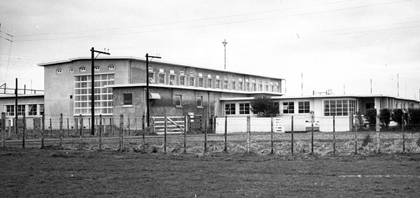 Northeast view of the station buildings showing the drive room (centre of photo) added in 1966.