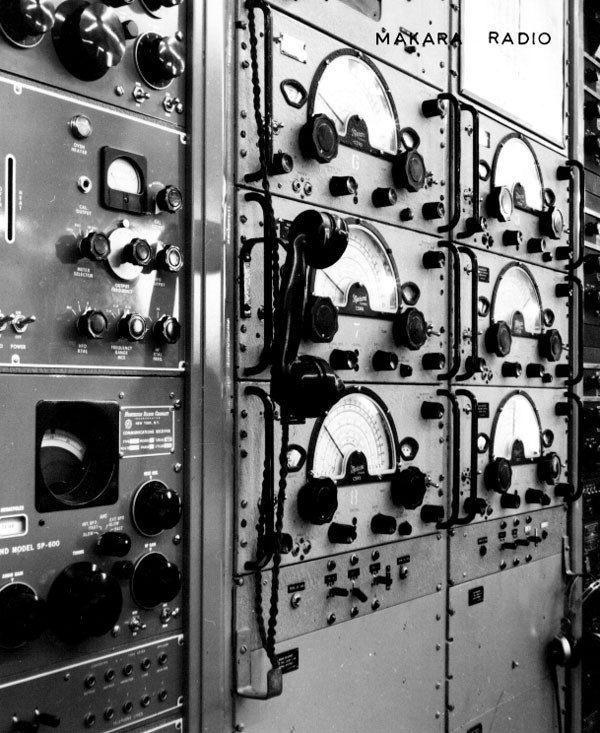 Two racks of Canadian Marconi CSR5 receivers (probably providing triple diversity reception), with Hammarlund receivers on the left and RCA on the right.