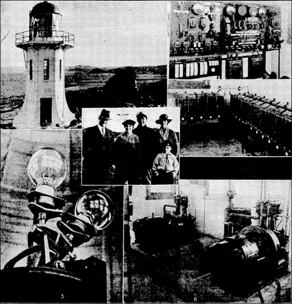 10 June 1935 - Some close-up views at Baring Head, where the new light will replace Pencarrow next Monday, June 17: 1 - Baring Head Lighthouse, 2 - Automatic switchboards in the power house, 3 - Some of the 56 storage batteries which supply power direct to the light and the dwellings, 4 - Mr RS Wilson (left), principal keeper and his assistant, Mr T Harte, with their wives and the assistant's son, David Harte, 5 - The main and reserve lamps, 6 - Interior of the powerhouse, which is equipped with Diesel engines