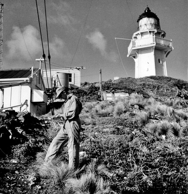 A rigger prepares to climb one of the radio masts at Brothers Island lighthouse