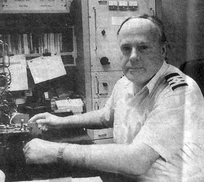 Radio Officer David Hopgood aboard Arahura in 1995 as the days of seafaring radio operators came to an end
