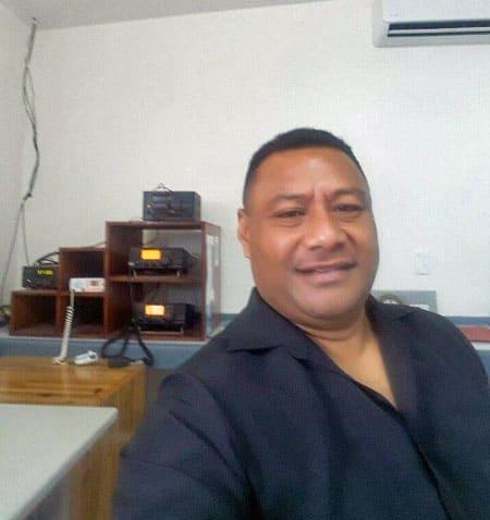 Radio operator Tevita Taufa at Nuku'alofa Radio A3A, March 2017