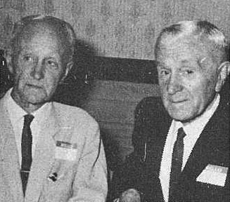 Frank Whiteman (left) with his successor at Awarua Radio, Les Steel, photographed in December 1969 at a social gathering of former Post Office employees