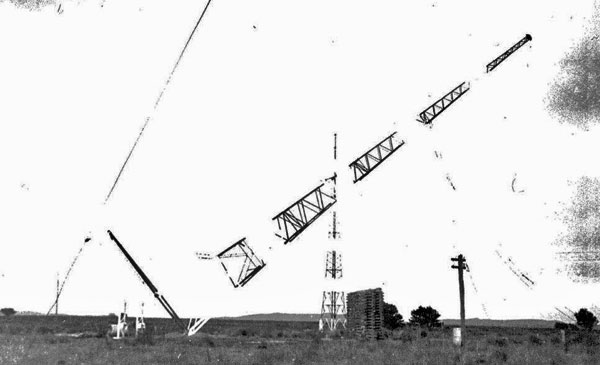 One of three new 150ft towers being erected at Awarua Radio in 1938