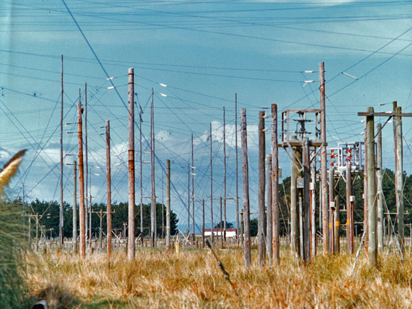 A portion of the aerial transmission line network at Himatangi Radio, including three of the remote-controlled switches