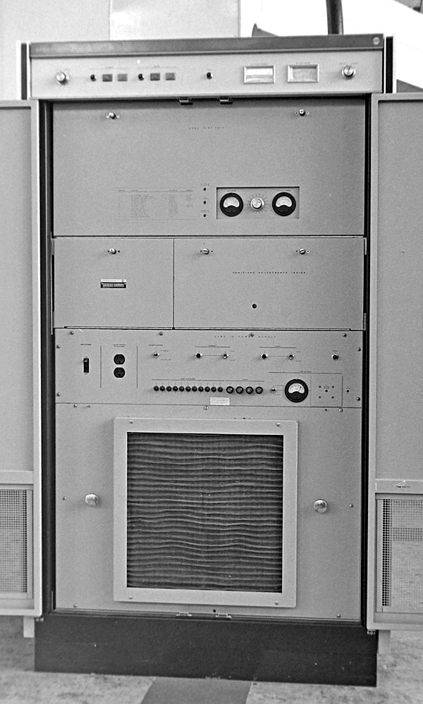 10kW Collins Auto-Tune transmitter with coaxial aerial output seen at top right, c1974