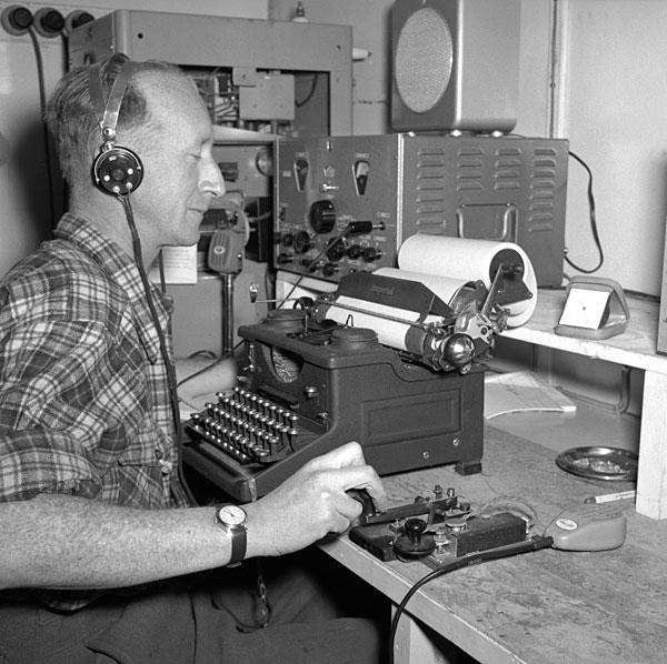 Radio operator Ted Gawn during the 1956-1958 season at Scott Base