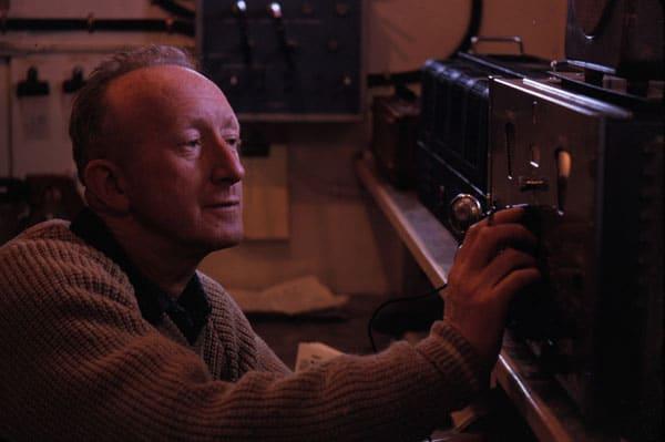 Radio operator Ted Gawn during the 1963-1964 season at Scott Base