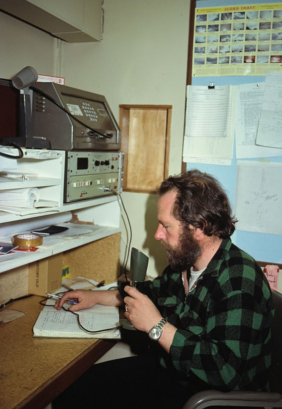 DOIC Ted Robinson in the Scott Base radio room 1979-1980
