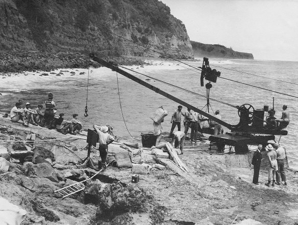 The landing place at Fishing Rock, Raoul Island, November 1949