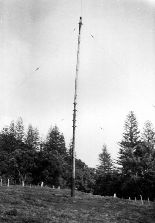Raoul Island Radio, April 1950: Pole D showing low area west of aerial system