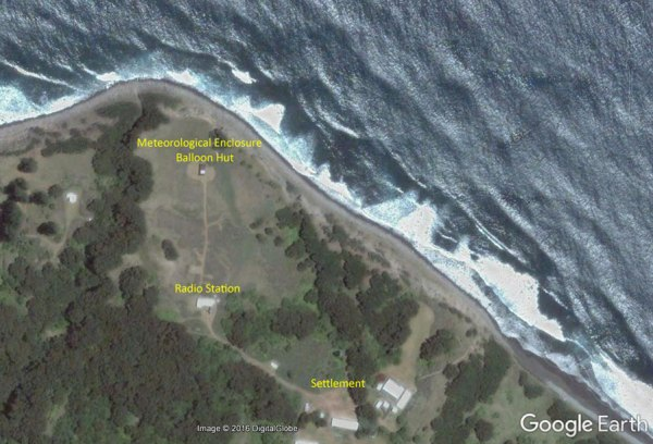 The layout of buildings on Raoul Island changed little from the 1940s until this satellite image was recorded in 2016. There were two lattice towers in an east-west line just north of the radio station for the 500 kHz aerial and poles in east-west lines farther north for HF rhombics and dipoles