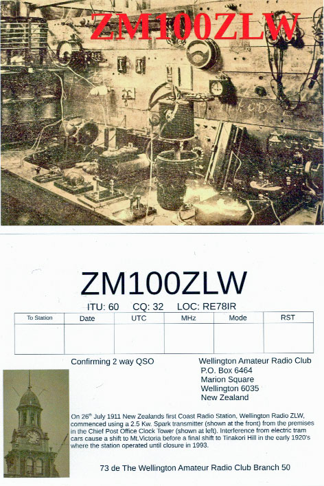 2011 QSL card marking the centenary of the opening of Wellington Radio ZLW