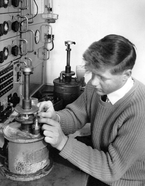Dave Burger lapping a radio crystal