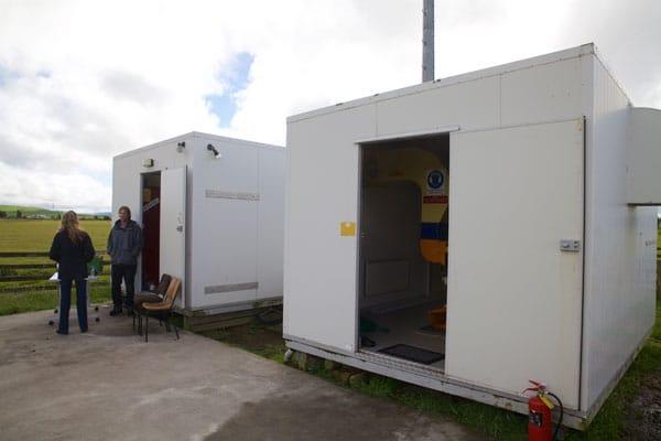 Transmitter hut and backup generator hut at Taupo Radio transmitter site