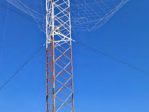 The ice-damaged spiracone antenna at Taupo Radio's Matea site