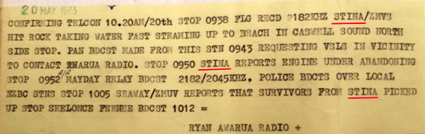 Telegram from Awarua Radio superintendent Jack Ryan, pasted into the station logbook, recording the sinking of the fishing vessel Stina on 20 May 1973