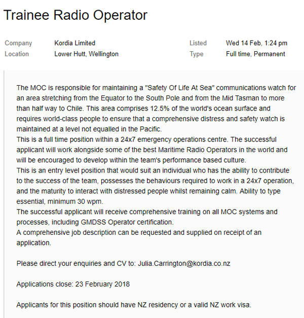 Trainee Radio Operator vacancy at Taupo Maritime Radio ZLM, posted on Trade Me website, 14 Feb 2018