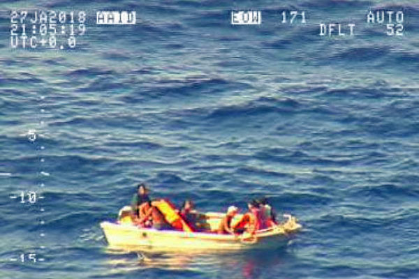 Survivors of the ferry Butiraoi, seen from a NZ Air Force plane