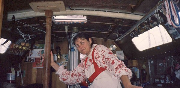 Kay Cottee aboard Blackmores First Lady