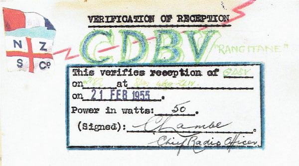 A QSL card from Rangitane