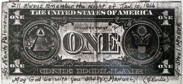 A US $1 note given to the author by Charlie, one of the crew of the rescue ship Steel Maker