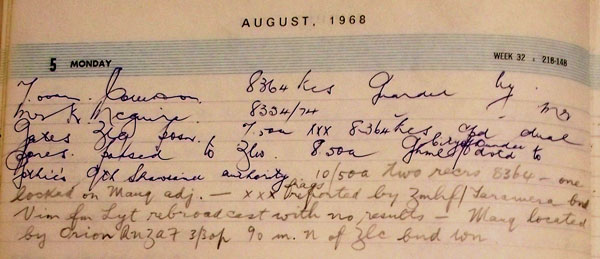 Awarua Radio ZLB log entry for 5 August notes that Gothic had been located by an Orion aircraft from the RNZAF at 3.30pm, 90,mi north of ZLC (Chatham Islands Radio).