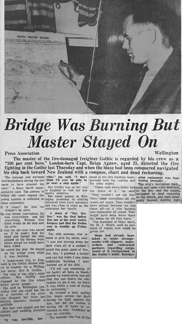Newspaper clipping featuring the actions of Captain Brian Agnew in saving SS Gothic