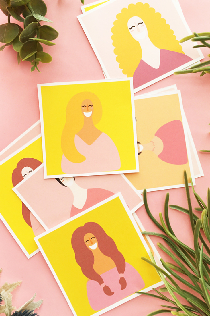 DIY Girl Power Notecards on Maritza Lisa. A flat note card to diy for your favorite girls and women. Click through for the tutorial!