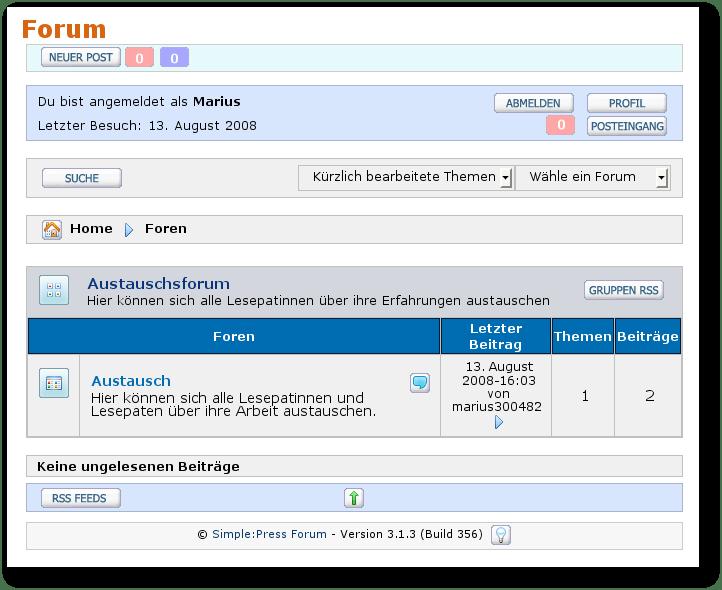 Screenshot - Simple Press Forum im WordPressblog