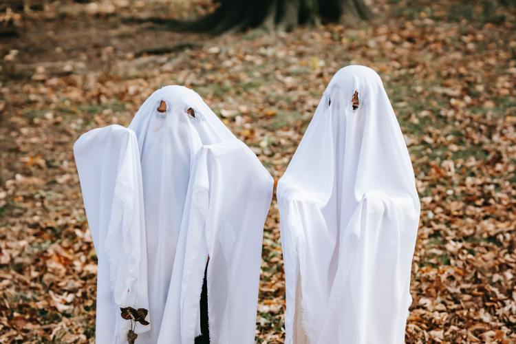 Photo of two similar absurd characters - ghosts outfits