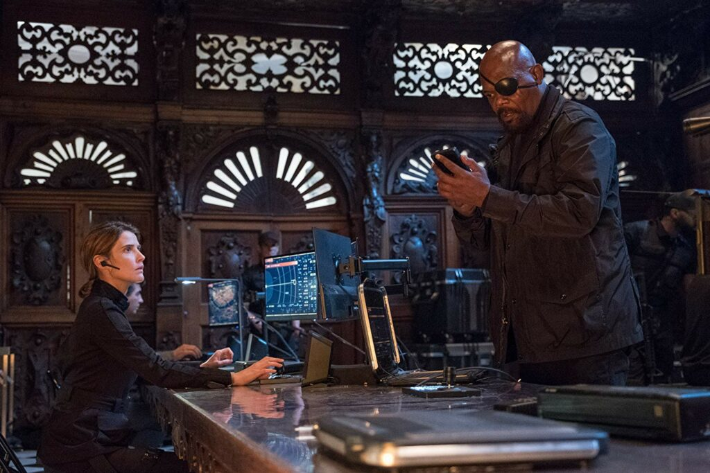 Nick Fury dan Maria Hill dalam post credit Spider-Man: Far from Home
