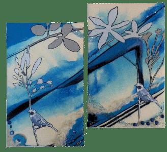 tweeluik met blauwe vogels
