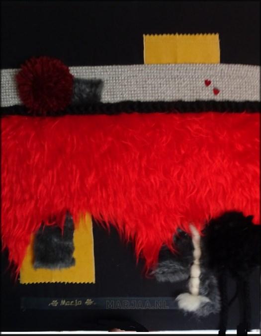 Knuffelschilderij bont rood stof wol diy knutselen