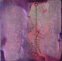 "Linda King Title: Indicator II.8 Medium: mixed media Date of work: 2015 Size: 5"" x 5"" x 0.75"" (framed) Signed verso and framed Retail value: $350"