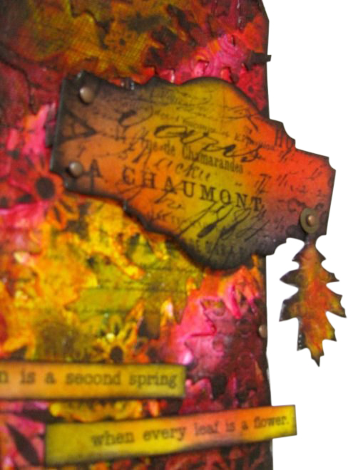 Autumn tag with UTEE and Tim Holtz Sizzix dies - Marjie Kemper