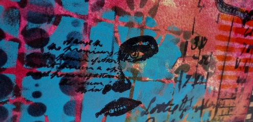 Stenciled face - Art journaling without a Sentiment (Marjie Kemper)