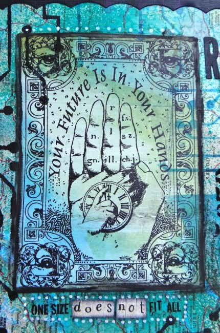 Art journal wth Stampers Anonymous hand + Dylusions Inks Sprays