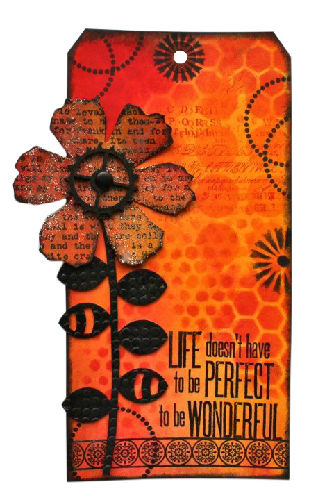 Jumbo Tag with Dylusions Ink Sprays, Distress Inks, & Embossig Powder (Marjie Kemper)