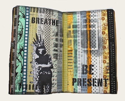 Kemper art journal with washi tape background